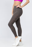 charcoal high rise mesh lace up leggings with pocket