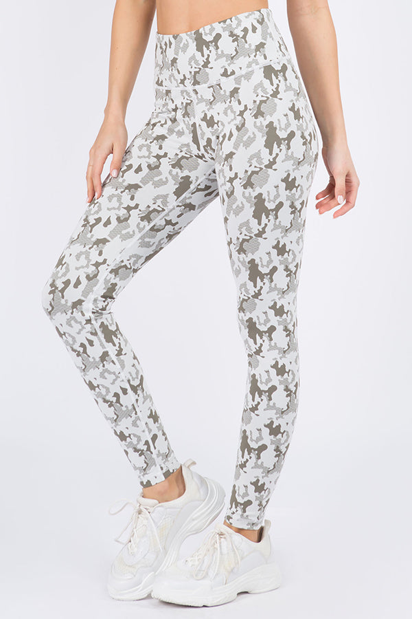 Faded Camo Print Active Leggings