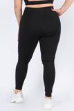 Plus Size Reflective Stripe Leggings with Pockets