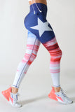 red white & blue graphic leggings for women high waisted