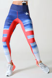 red white blue high waist athletic tights with pocket