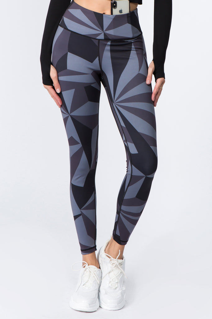 Monochrome Geometric Graphic Active Leggings