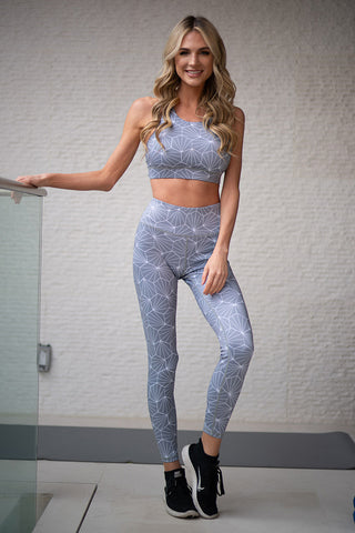 Namaste Geometric Diamond Print Active Sports Bra and Leggings Set