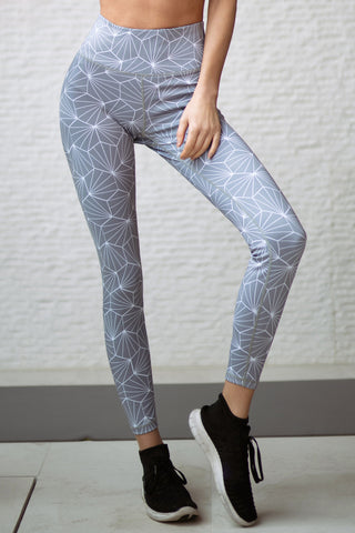 Namaste Geometric Diamond Print High Rise Active Leggings