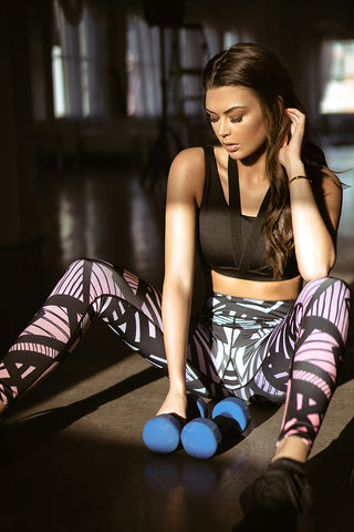 Bright and Bold Geometric Design Workout Leggings
