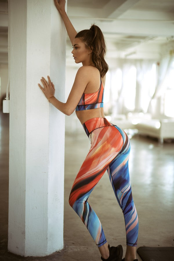 Vivid and Vibrant Active Watercolor Leggings