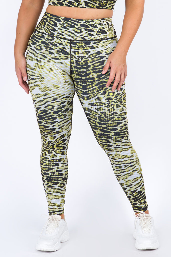 Plus Size Lush Leopard Print Active Leggings