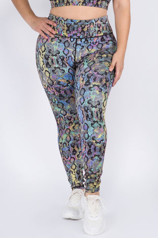 Plus Size Iridescent Snake Print Workout Leggings
