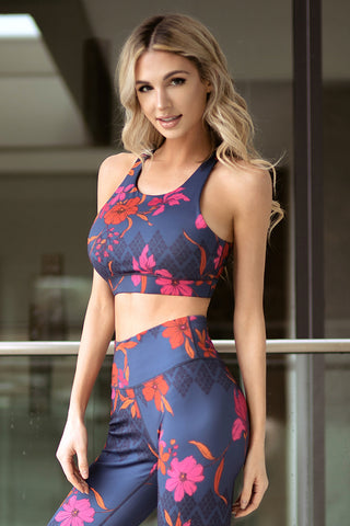 Palm Trees in Paradise Active Sports Bra and Leggings Set