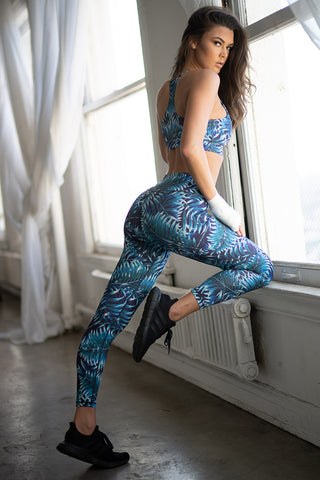 Cool Toned Palm Leaf Pattern Active Sports Bra and Leggings Set