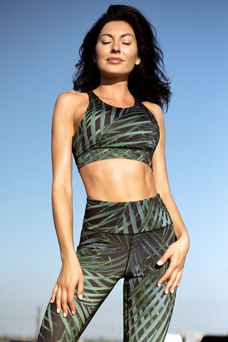 Lush Palm Leaf Active Sports Bra
