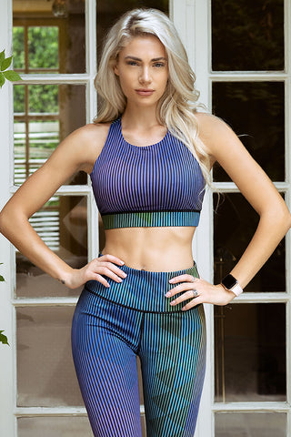 Cyan Geo Striped Active Sports Bra