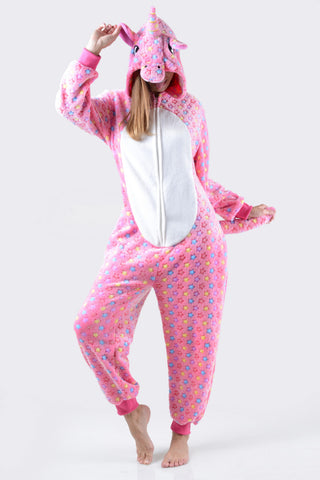 Plush Tie-Dye Unicorn Animal Onesie Pajama