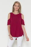 Red Open Shoulder Top
