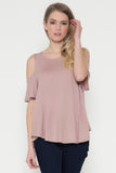 Dusty Rose-Cold Shoulder Blouse