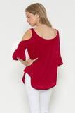 Resistible Ruffles Cold Shoulder Knit Top