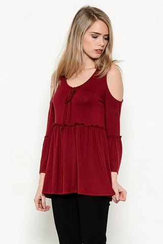 Daydreaming About You Cold Shoulder Peplum Top