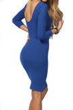Royal Blue Open Back Bodycon Dress