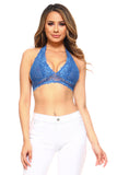 blue plunge neck bra