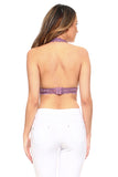 purple backless bra top