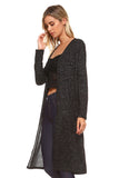 Shimmer Lurex Open-Front Ribbed Cardigan