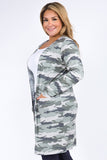 Plus Size Camouflage Cardigan with Pockets