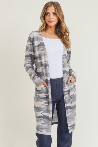 Camouflage Cardigan with Pockets