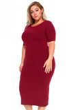 dark red short sleeve dress for plus size
