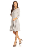 Charming 3/4 Sleeve Swing Dress