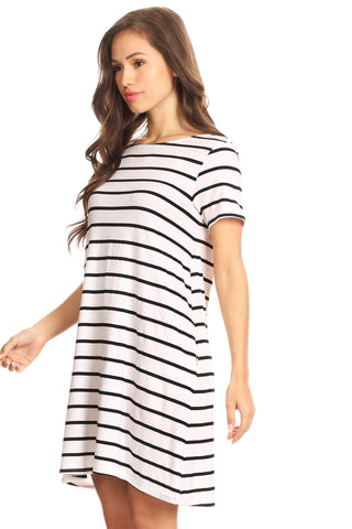 Striped Short Sleeve Tunic T-Shirt Dress w/ Pockets