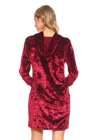 Epitome of Cool Crushed Velvet Hoodie Dress