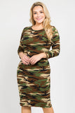 camouflage bodycon midi dress for plus size women