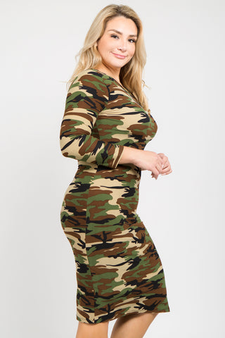 Plus Size High In Ranks Camo Bodycon Dress