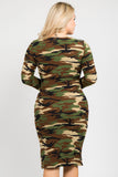 bodycon camouflage dress plus size women