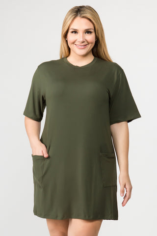 Plus Size Day to Night Two Pocket T-Shirt Dress
