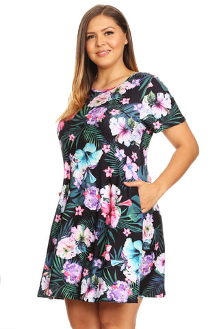 Plus Size Refreshing Lemon Print Short Sleeve Fit and Flare Dress