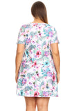 Plus Size Tropical Floral Short Sleeve Skater Dress