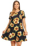 sunflower short sleeve dress for plus size women