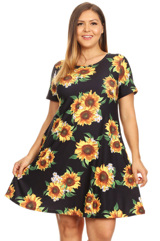Plus Size Sunflower Print Short Sleeve Fit and Flare Dress