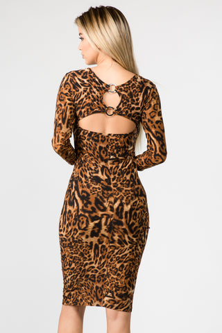 Cara Half Sleeve Cheetah Print A-Line Dress