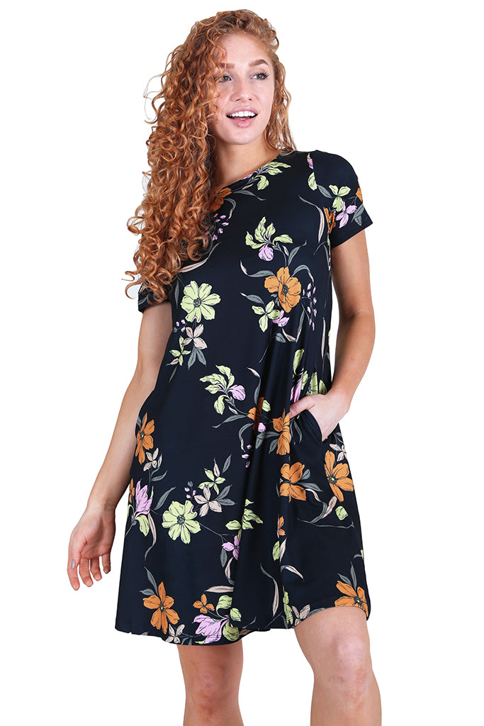 Blossom of Lilies Fit and Flare Dress with Pockets