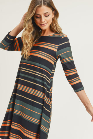 Bold Striped A-Line Dress