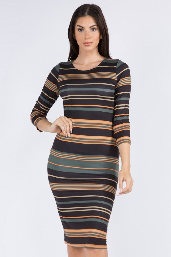 Bold Striped Midi Bodycon Dress