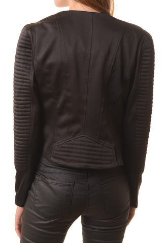 Black Moto Jacket with Double Zippers