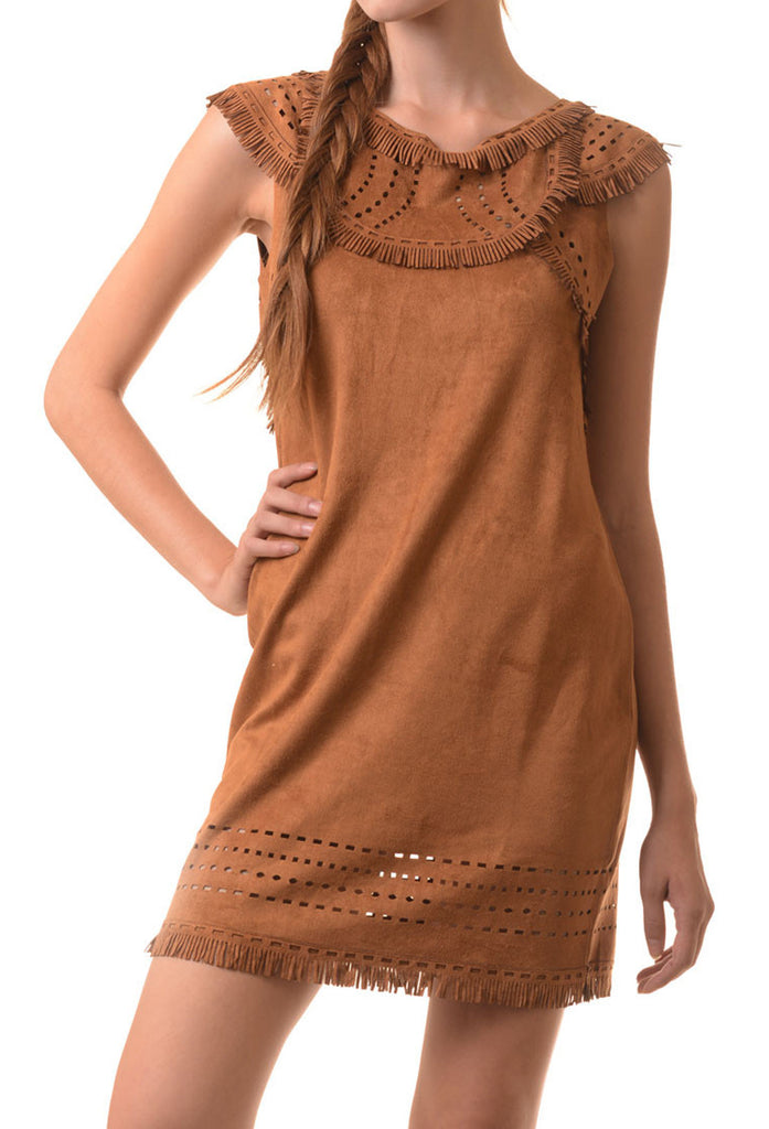 Suede Fringe Cutout Dress