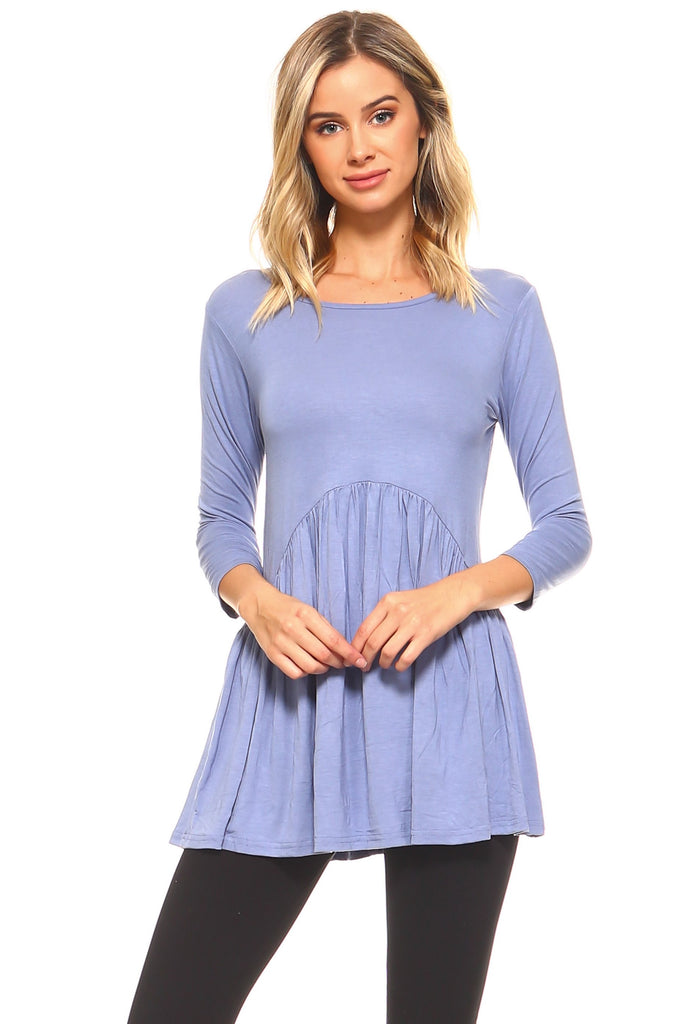 Pretty In Peplum ¾-Sleeve Babydoll Top