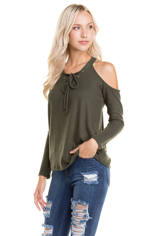 Soft to the Plush Cold Shoulder Lace-Up Top