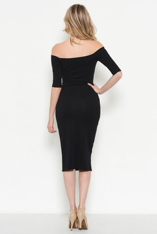 The Classic Off Shoulder Midi Dress