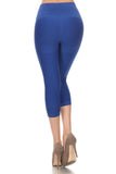 denim blue seamless capri legging