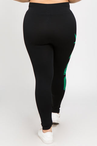 Plus Size Seamless Graphic Screen Print Leggings